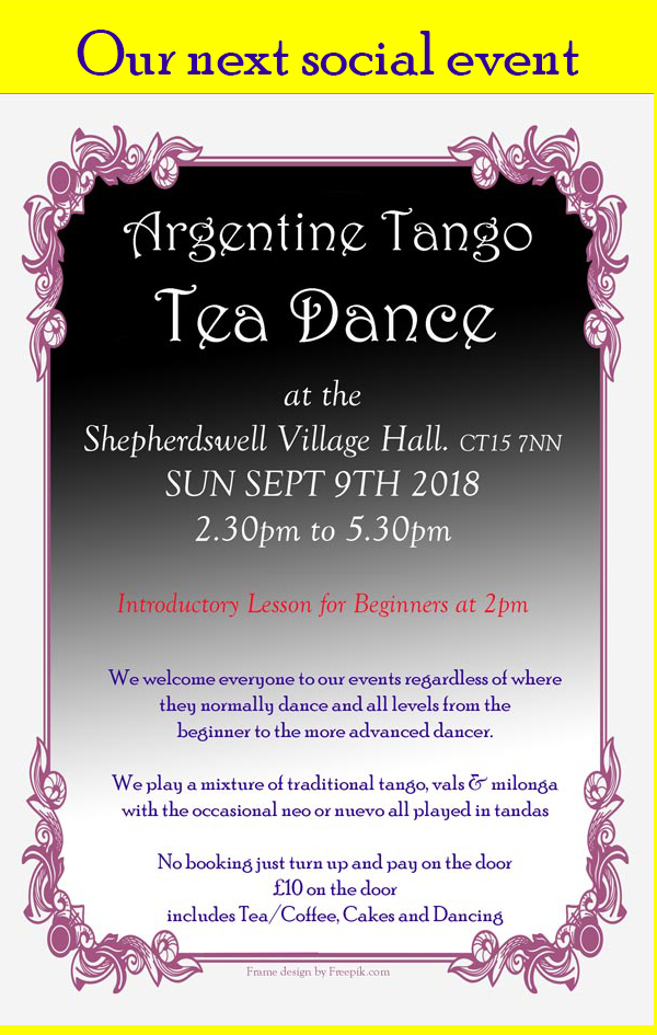 Westcourt Tango, Tea Dance, Milonga, Classes